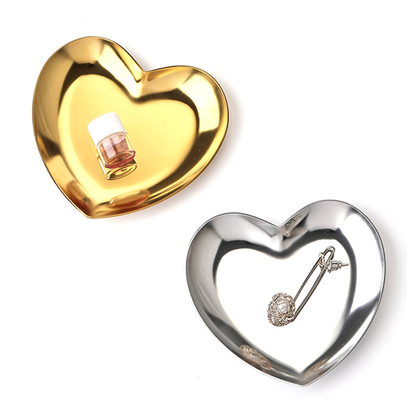 Stainless Steel Heart-Shaped Jewelry Tray