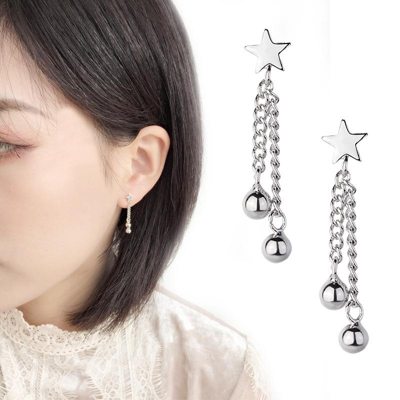 Star and Double Silver Ball Drop Earrings