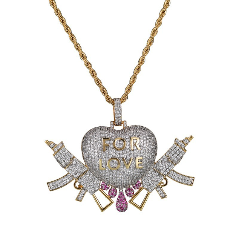 """""""For Love"""" Heart with Guns Necklace with Pendant for Girls"""