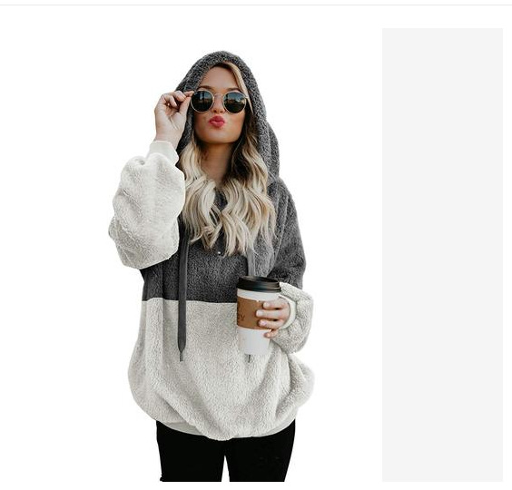 Comfy Fuzzy Fleece Drawstring Two-Way Color Hoodie for Cold Weather