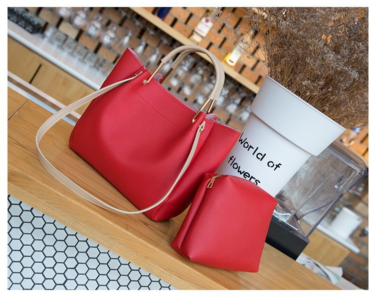 Stylish Double Handle Faux Leather Bag with Cosmetic Purse for Casual Outfits