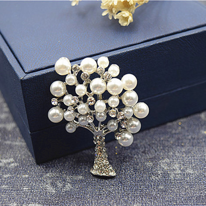 Pretty Faux Pearl Tree Brooch for Wealth and Abundance