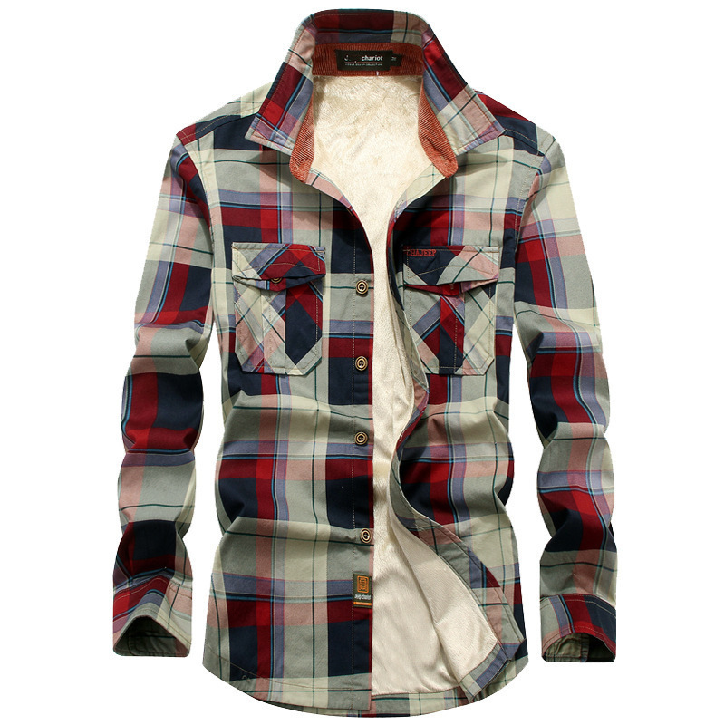 Stylish Plaid Button-Up Shirt Jacket for Autumn and Winter Wear