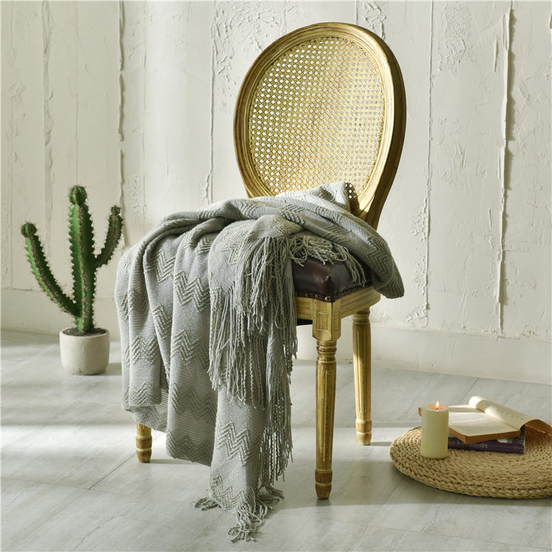 Knitted with Tassel Blanket