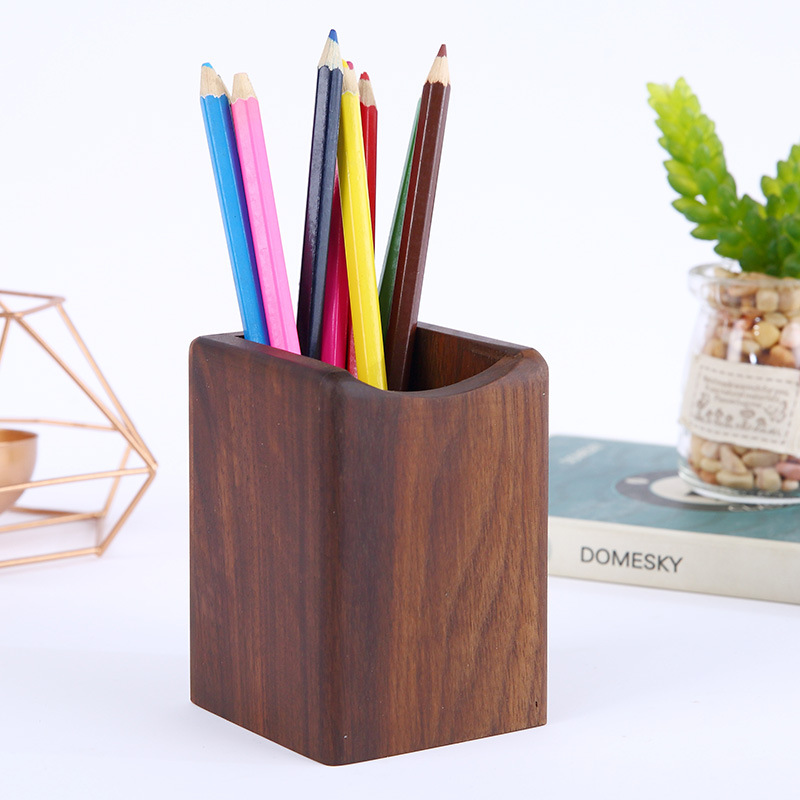 Minimalist Wooden Pen Holder for Home and Office
