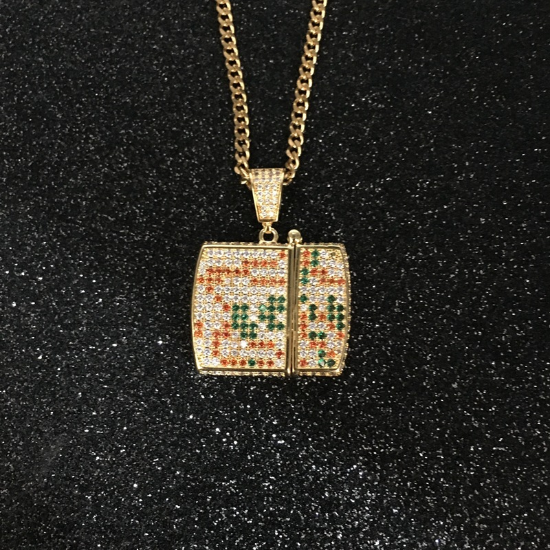 Gold Plated Artificial Diamond Studded Lighter Pendant for Streetwear Fashion