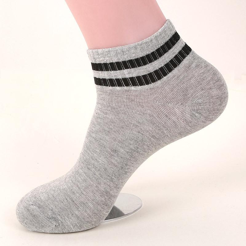 Women's Short Tube Socks with Two Stripes