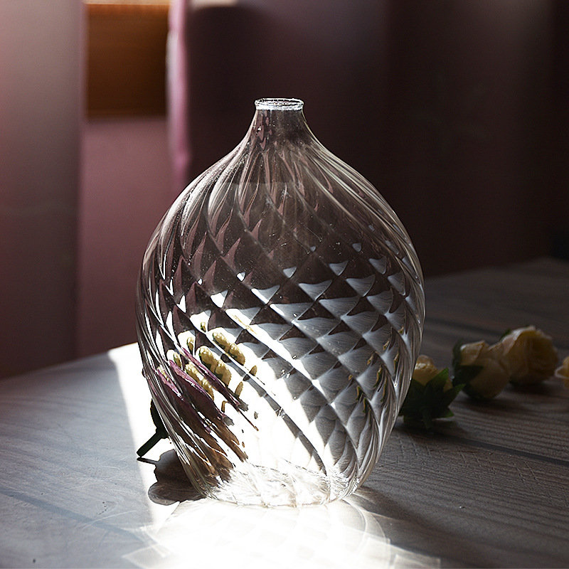 Narrow Mouth Glass Vase for Table Decoration