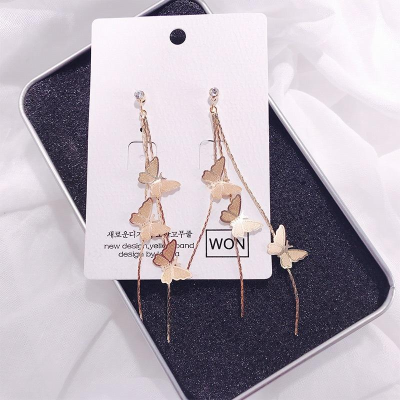 Triple Butterfly Long Earrings