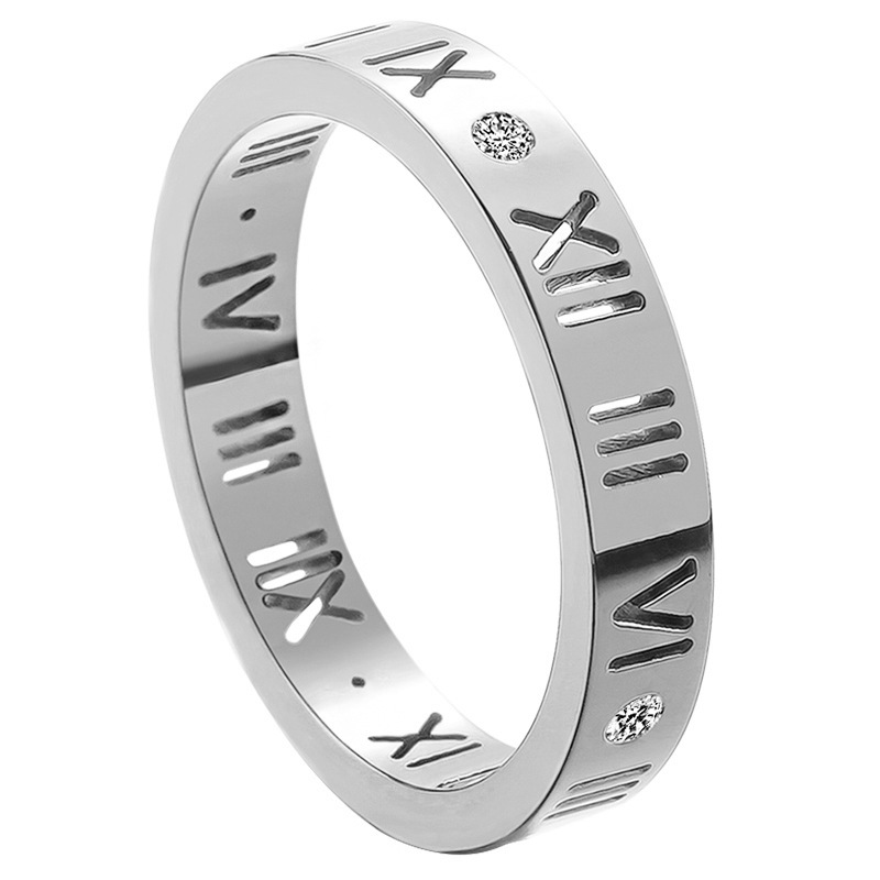 Lovely Titanium Steel Roman Numeral Ring for Daily Accessories