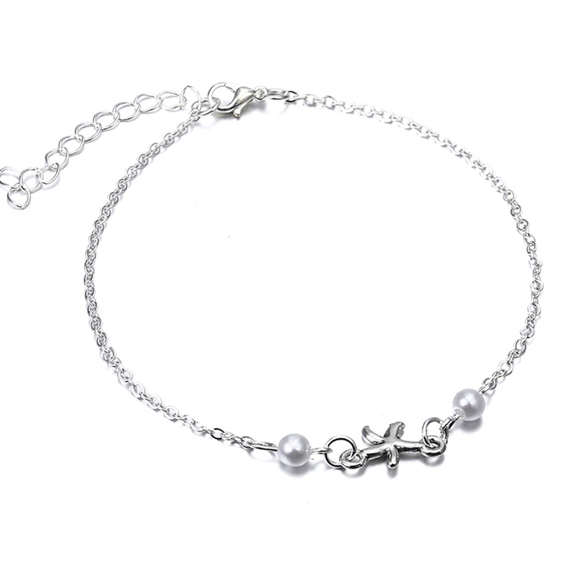 Silver Starfish and Synthetic Pearl Minimalist Anklet for Daily Wear