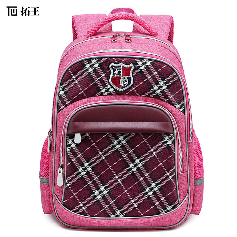 Lovely Waterproof Breathable Plaid Oxford Cloth Backpack for School Girls