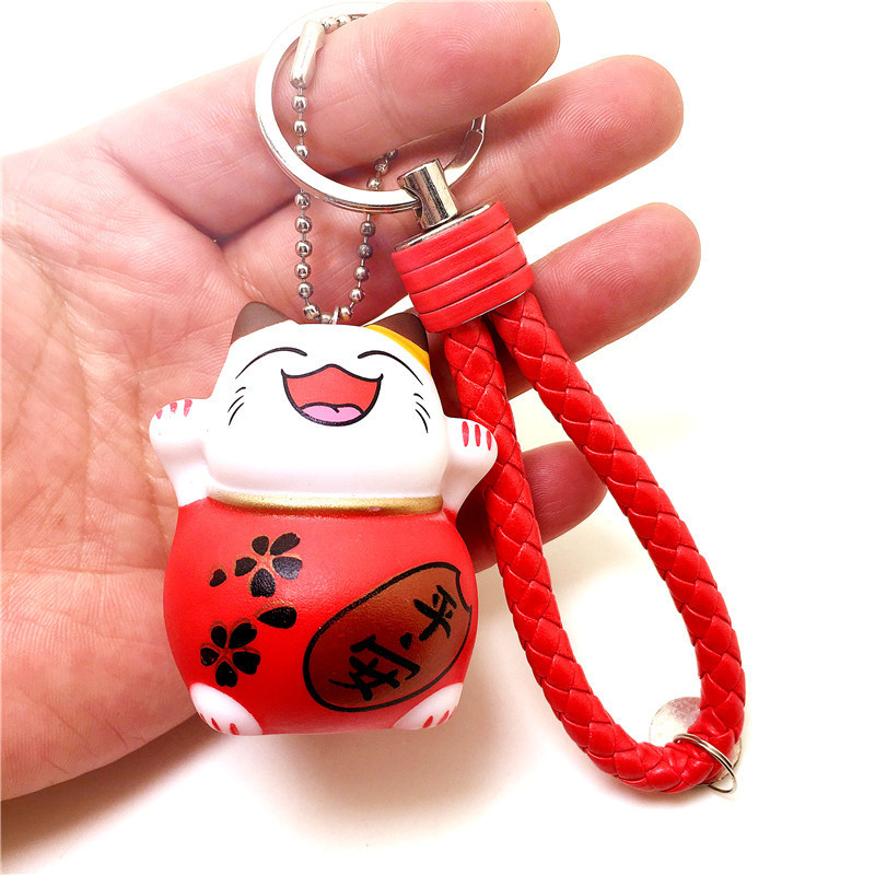 Jolly Embrace Cat Keychain Charm with Wristlet for Luck-Filled Days
