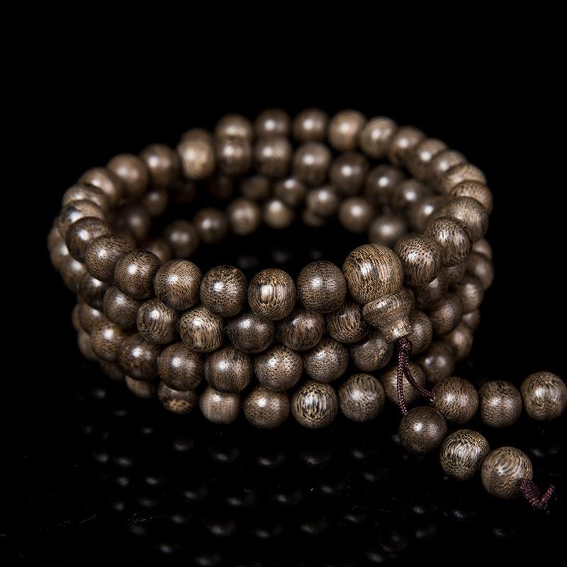 Dark Wood Marble Buddhist Bead Bracelet