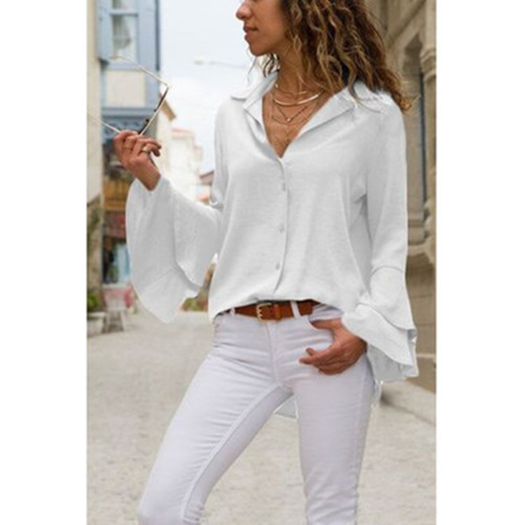 Solid Color Notched Collar Bell Sleeve Top for Stylish Office Looks