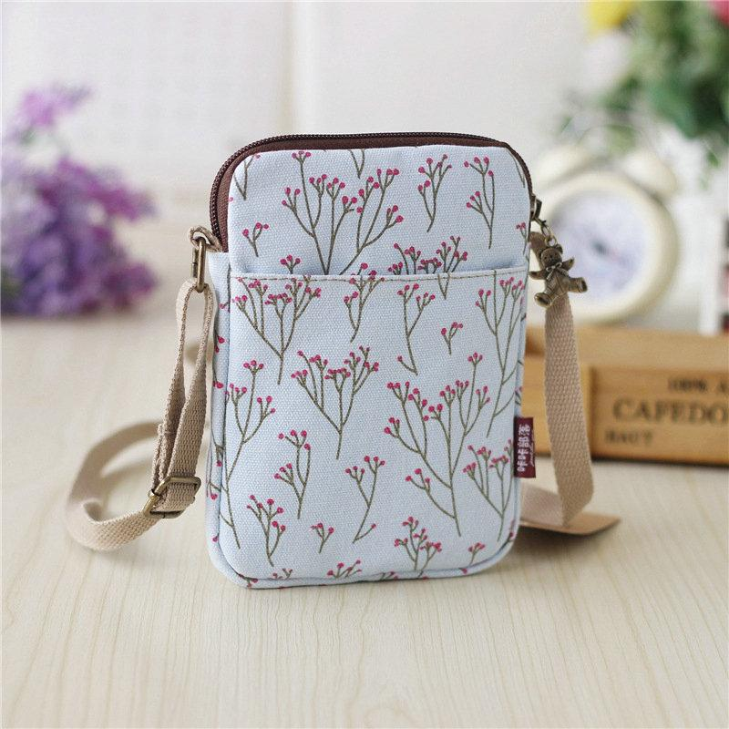 Floral Canvas Mini Shoulder Bag