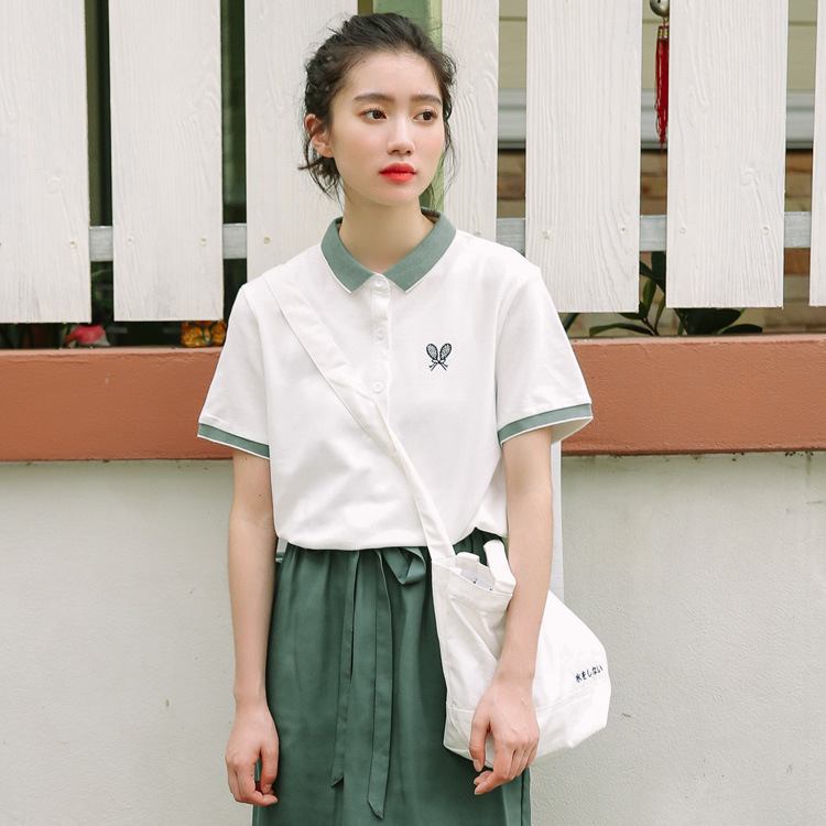 Sporty Casual Cotton Polo Shirt for Tennis Player Vibe