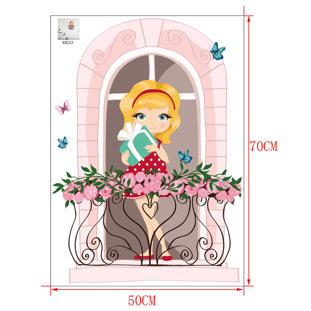 Cute Pink Girl Cartoon Wall Sticker for Girly Rooms