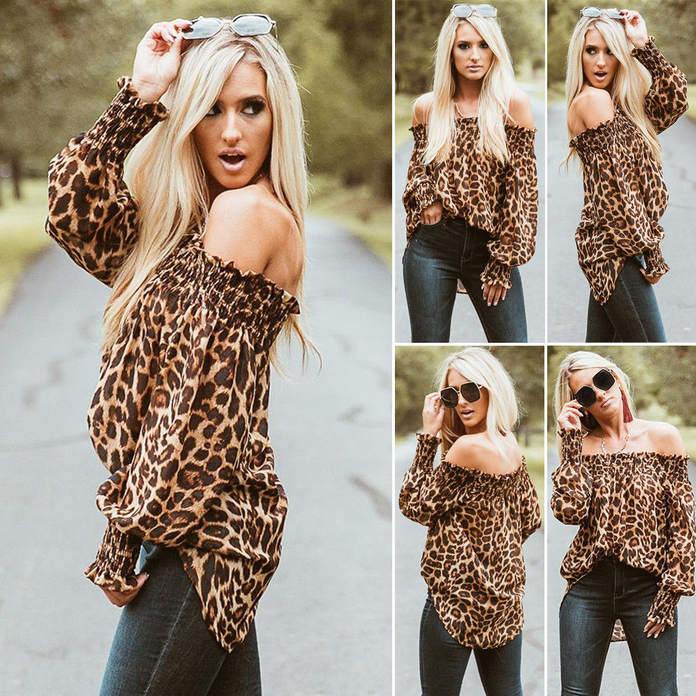 Leopard Print Ruched Long Sleeve Off-Shoulder Blouse for Stylish Women