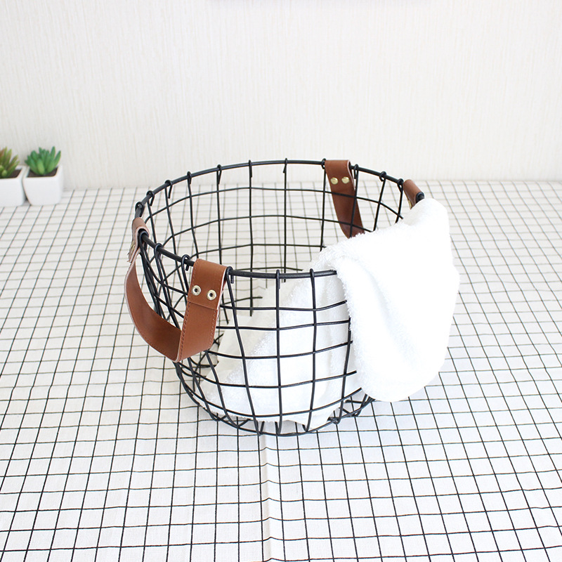 Simple Nordic Debris Wrought Iron Storage Basket for Laundry Clothes