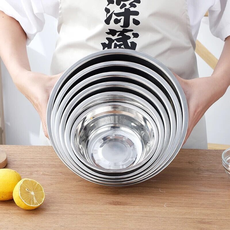 Simple Stainless Steel Non-Magnetic Soup Basin and Bowl for Kitchen