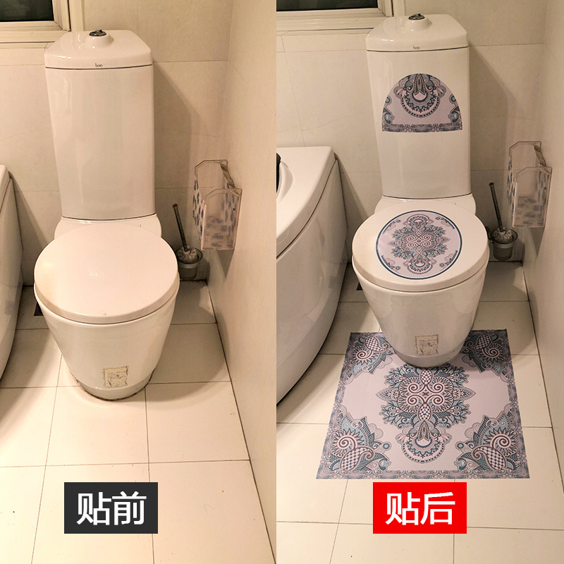 Artistic Printed Toilet and Floor Stickers for Eye-Catching Bathroom Aesthetics
