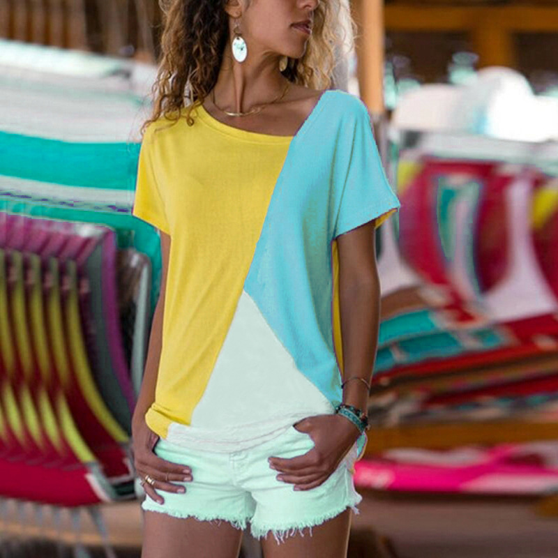 Breathable Three-Toned V-neck T-Shirt for Summer Wear