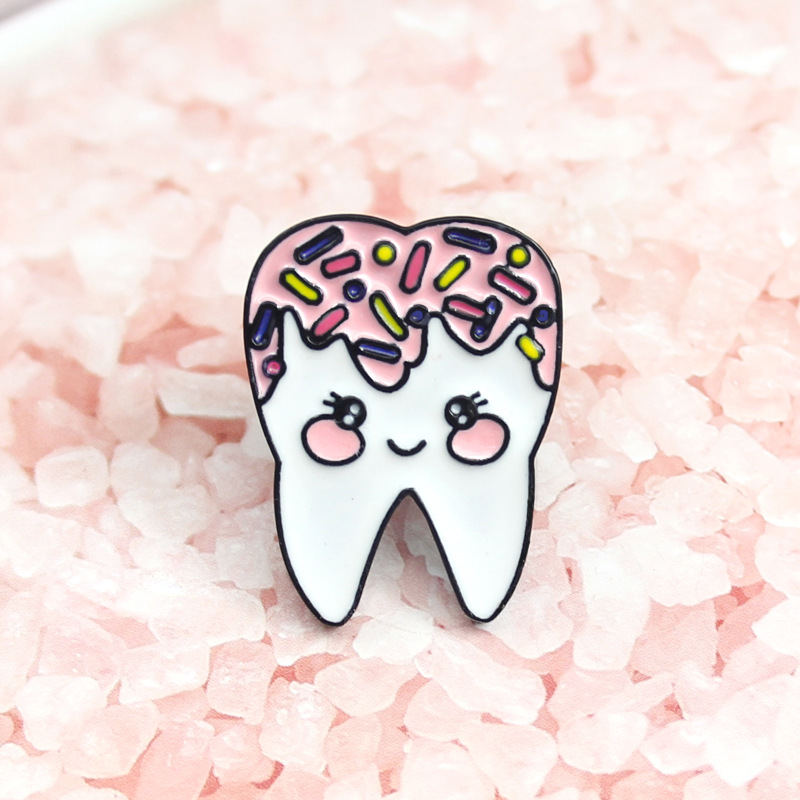 Lovely Cartoon Donut Tooth Brooch for Charming Collar Pin