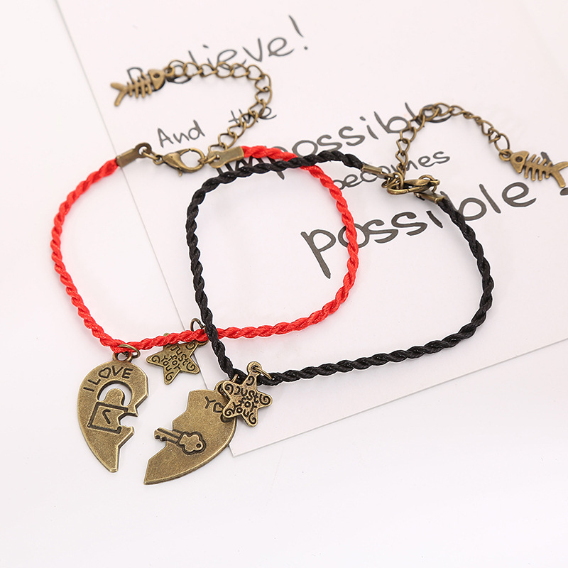 For the Key to My Heart Matching Couples' Bracelet