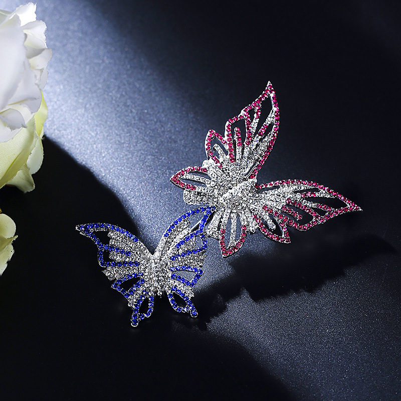 Glowing Crystals Double Butterflies Pin for Formal Gathering