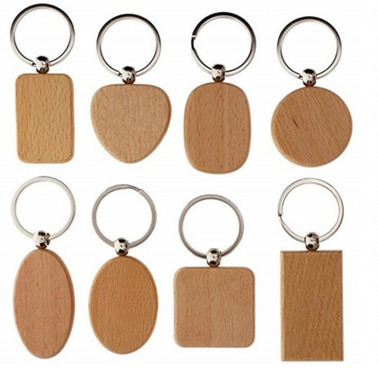 Solid Wood Basic Shapes Keychain for Simple Gifts