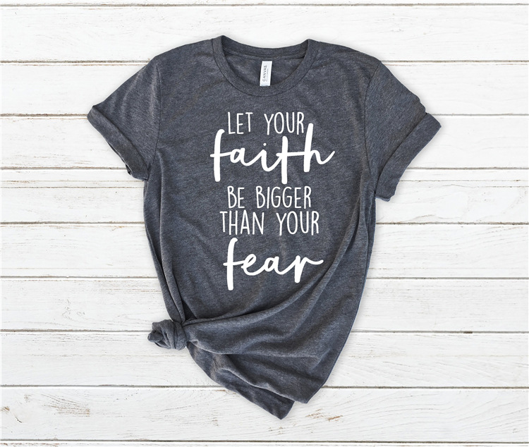 """Solid Color Short Sleeve """"Faith"""" Knotted Statement T-Shirt for Ladies"""
