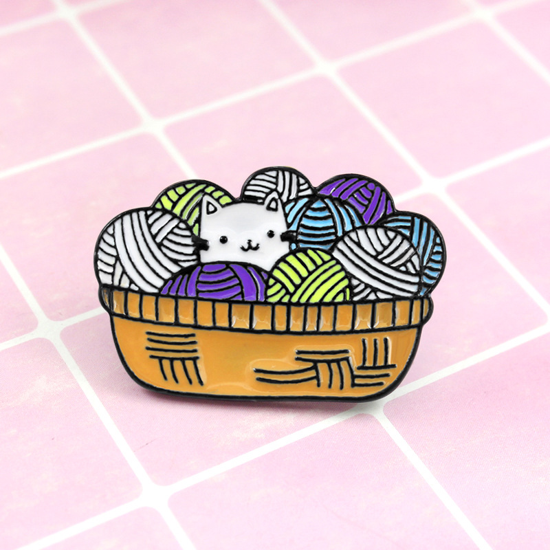 Kooky Kitten in Yarn Basket Pin for Kitten Moms and Dads