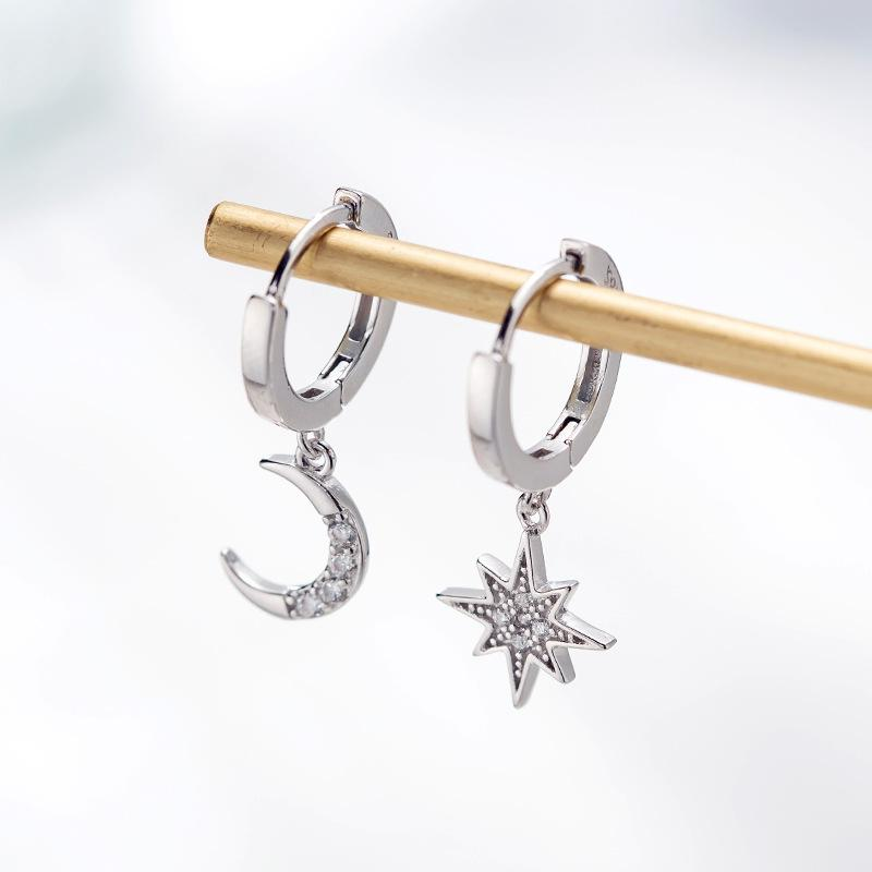 Silver Moon and Star Mismatch Earrings