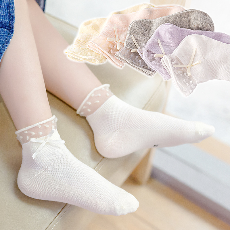 Sweat Absorbing Laced Cuff Socks with Ribbon Detail for Children's Princess Look