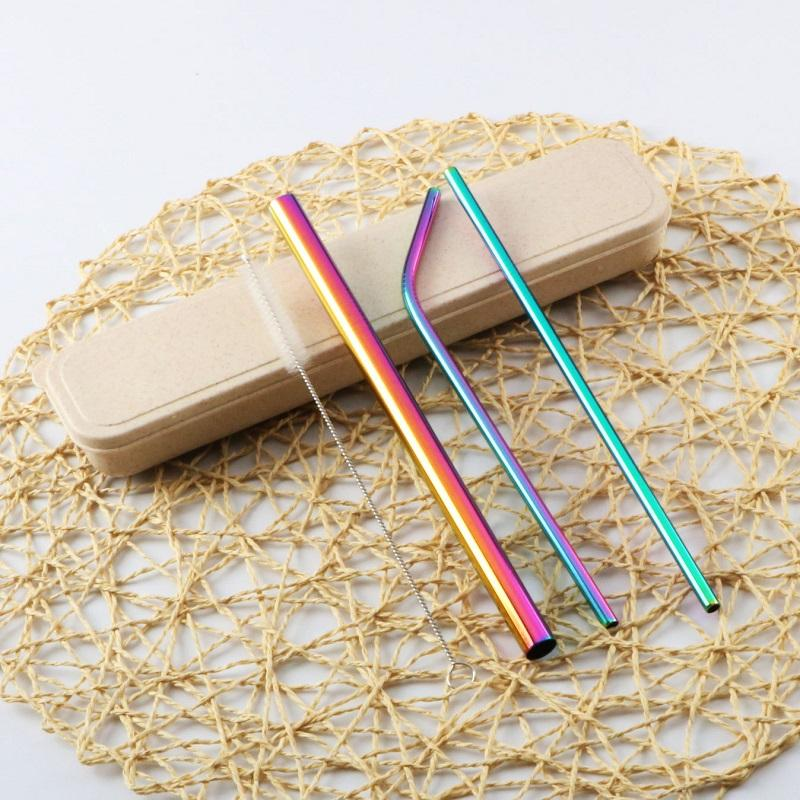 3-pieces Stainless Straw with Cleaning Brush Set in a Box