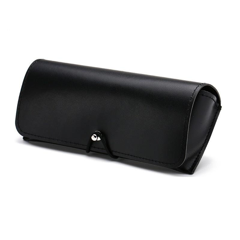 Pitch Black Leather Glasses Case