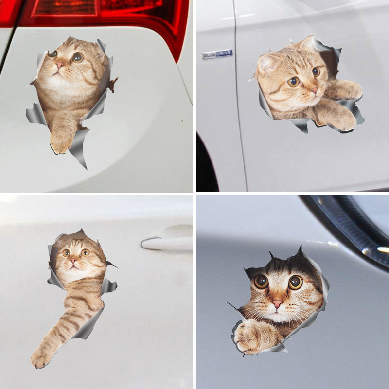 Adorable Three-dimensional Kitten Scratch Car Sticker for Car Decorations