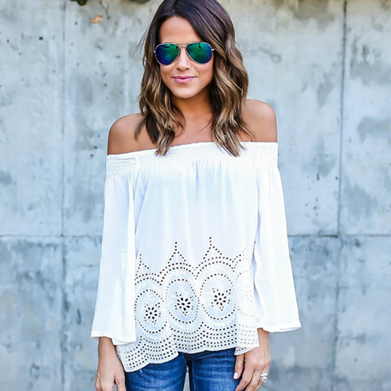 Stylish Off-Shoulder Eyelet Cotton Top for Women's Casual Wear