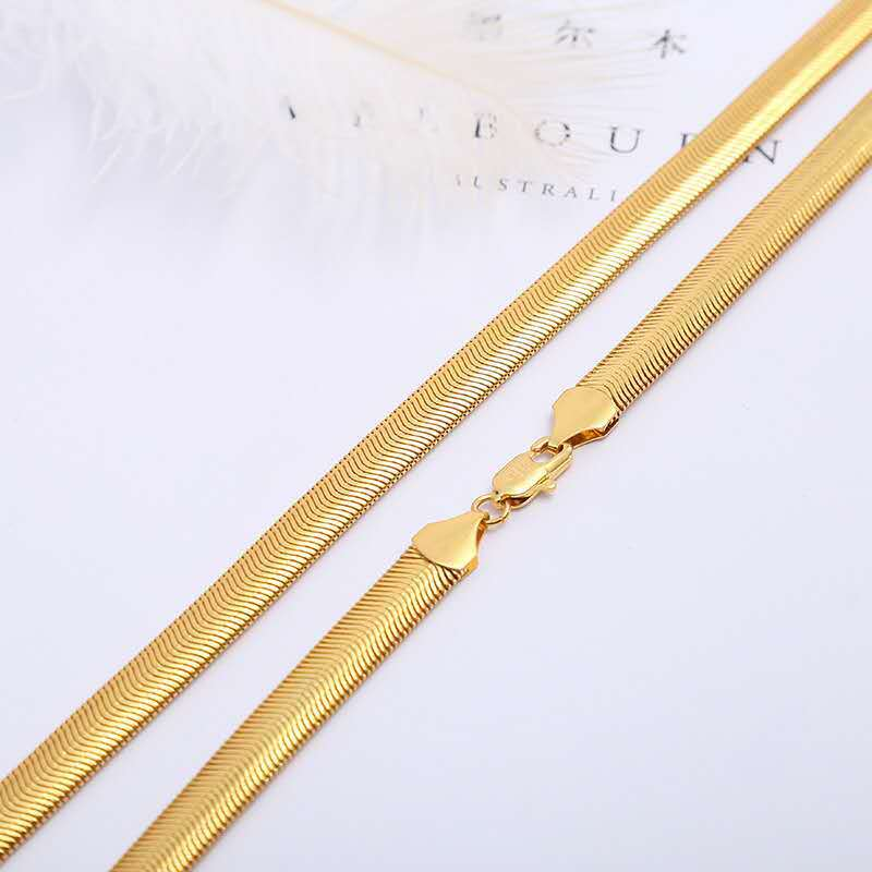 Tight Copper Plated Flat Snake Chain Necklace for Standing Out from the Crowd