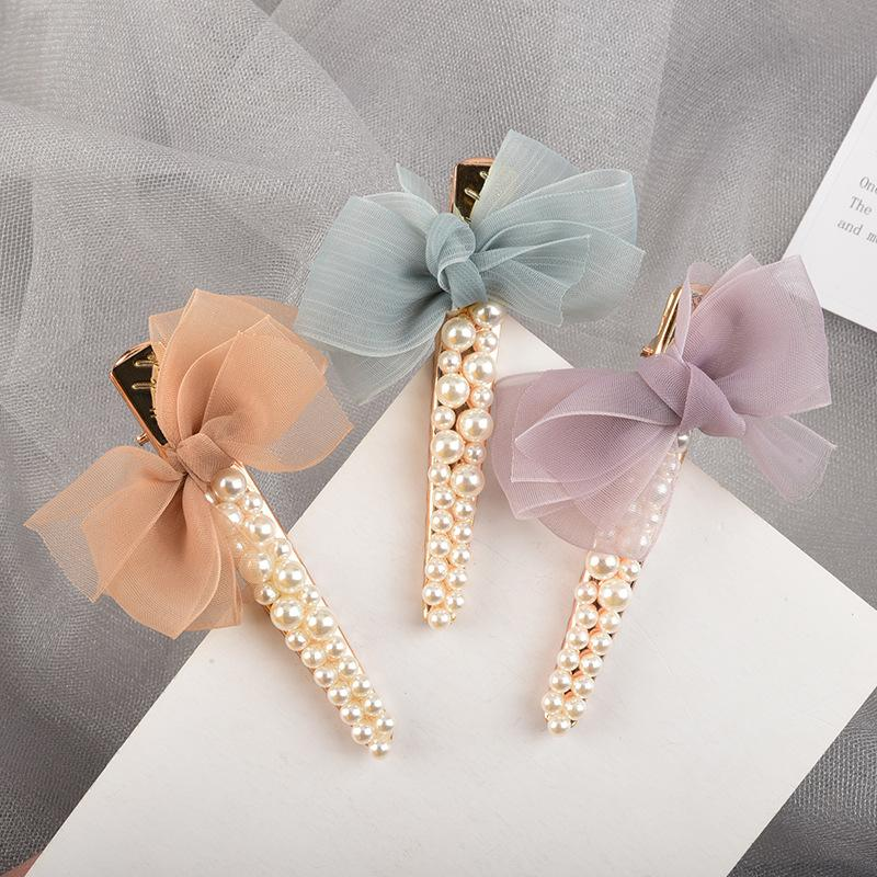 Mesh Bow and Pearls Hair Clip