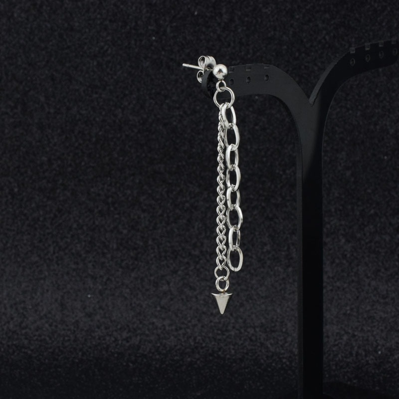 Xarell Silver Chains Dangle Earrings for Men's Hip Hop Outfit