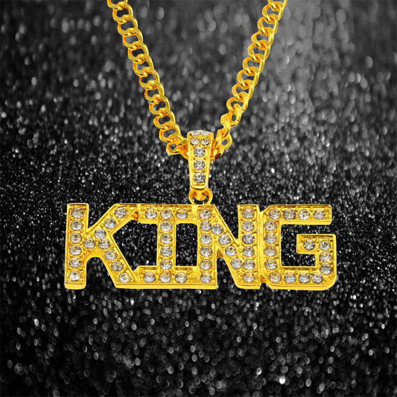 Bedazzled KING Statement Necklace for Hip-Hop Outfits
