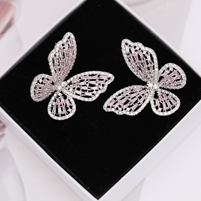 Dainty Crystal Butterfly Copper Earrings