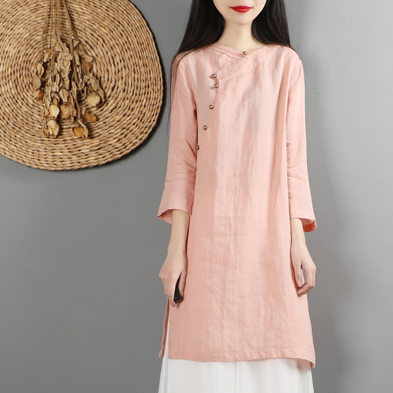 Oriental Style Flax Dress for Special Occasions