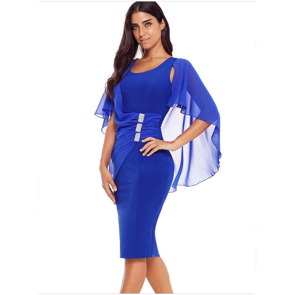 Fancy Shawl Sleeve Body-Hugging Dress for Special Occasions