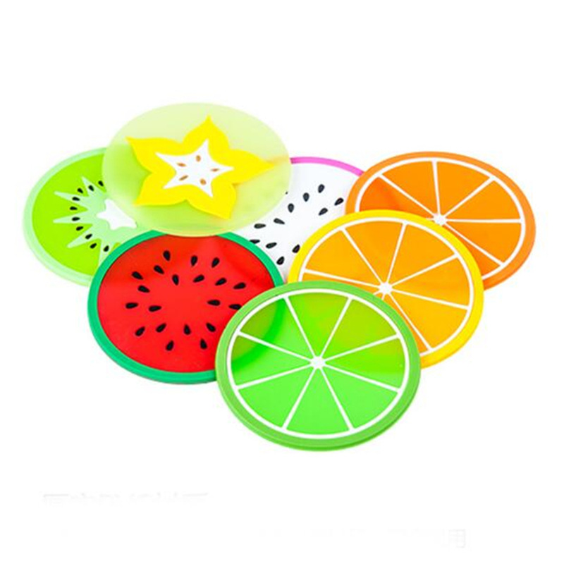 Adorable Fruit-Shaped Silicone Coaster for Playful Dining Aesthetics