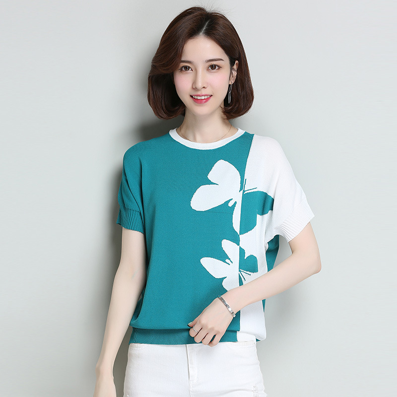 Plus Size Ice Silk Color Matching Butterfly Short Sleeve Top for Middle-Aged Women