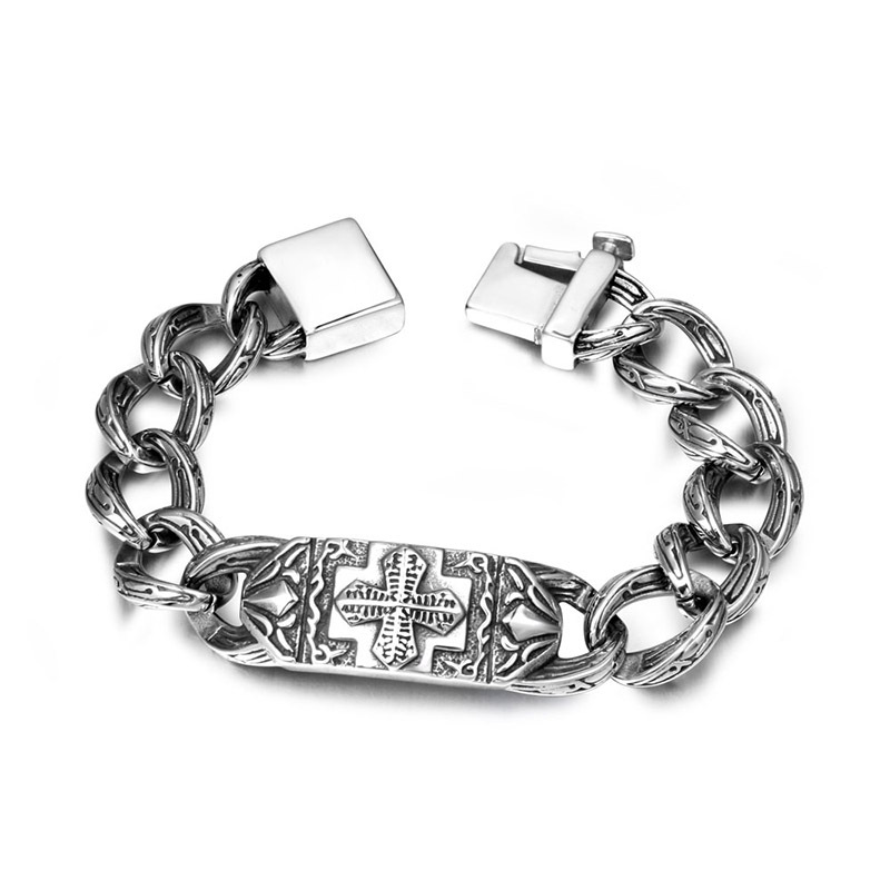 Stylish Cuban Link Chain Bracelet with Cross Detail for Daily Wear