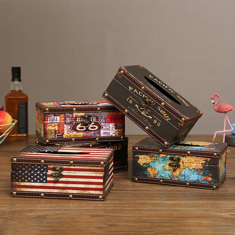 Old Design Faux Leather Tissue Box Cover for Vintage Vibe Decoration